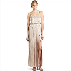 Gold maxi dress high slit bcbg